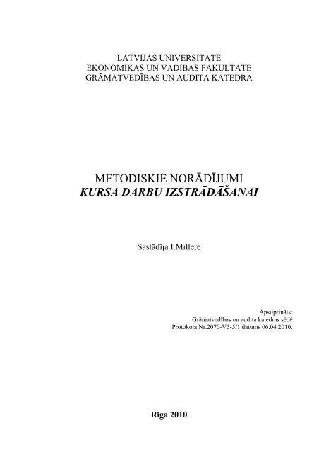 Kursa darbu izstrāde / studiju gadā - Latvijas Kultūras Akadēmija