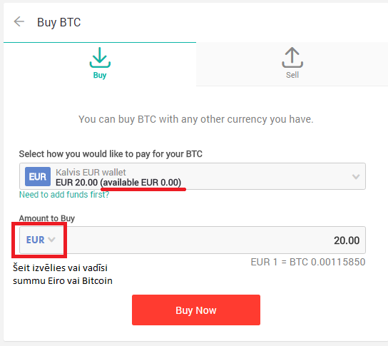nopirkt Bitcoin par naudu